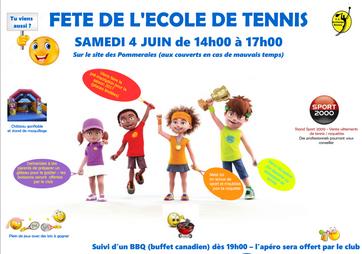Fête de l'école de tennis - Samedi 4 Juin 2016