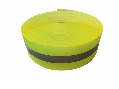 Reflective Nylon Tape 50mm (Yellow/Grey)