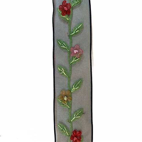 TP27 Tresse organza fleur (Black)