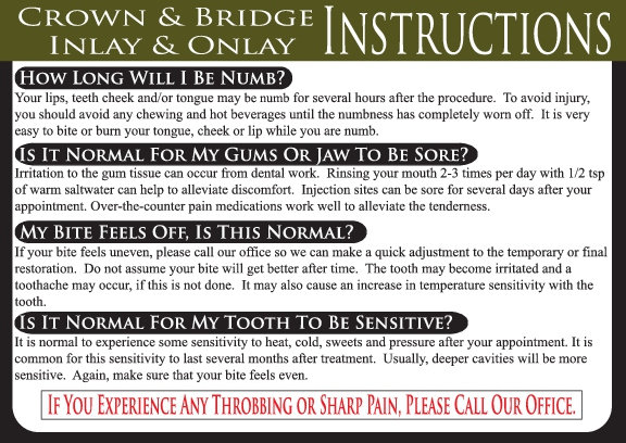 CROWN & BRIDGE / INLAY / ONLAY DENTAL CARE CARD REFILL PACKAGE