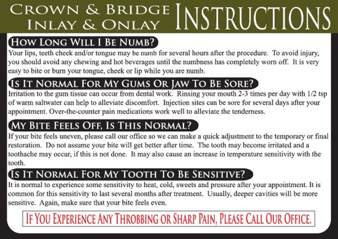 Crown & Bridge / Inlay & Onlay Dental Care Card