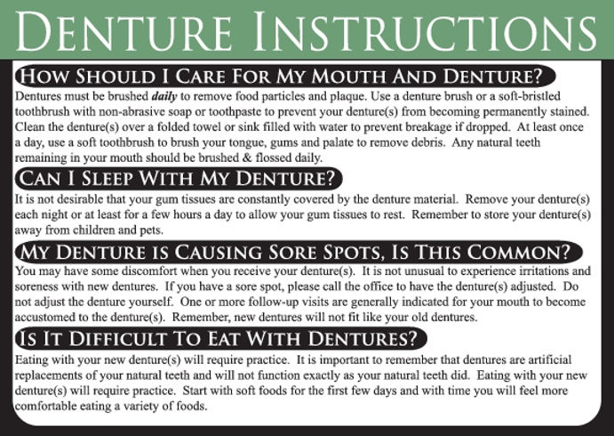 Denture Dental Care Card