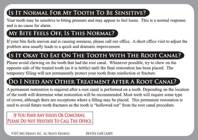 Root Canal Dental Care Card