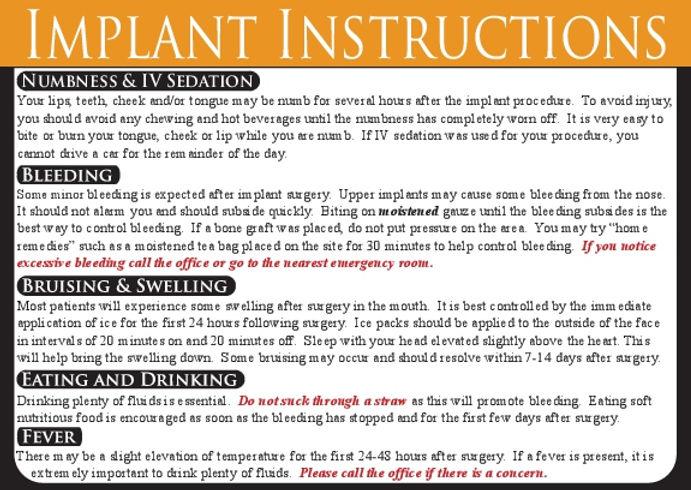 Implant Dental Care Card