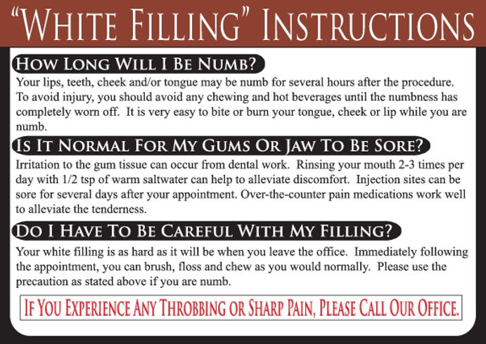 White Filling Dental Care Card
