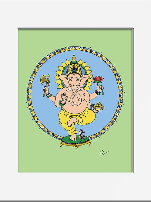 """Ganesha, Overcomer of Obstacles 5x7"""" Print with Mat"""