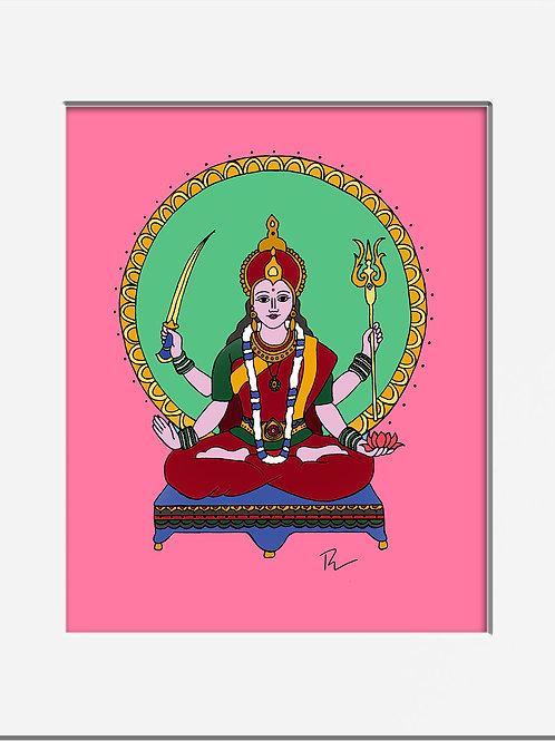 "Goddess Parvati 5x7"" Print with Mat"
