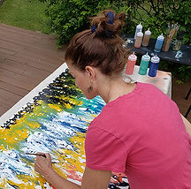 Kathleen Karlsen creating artwork