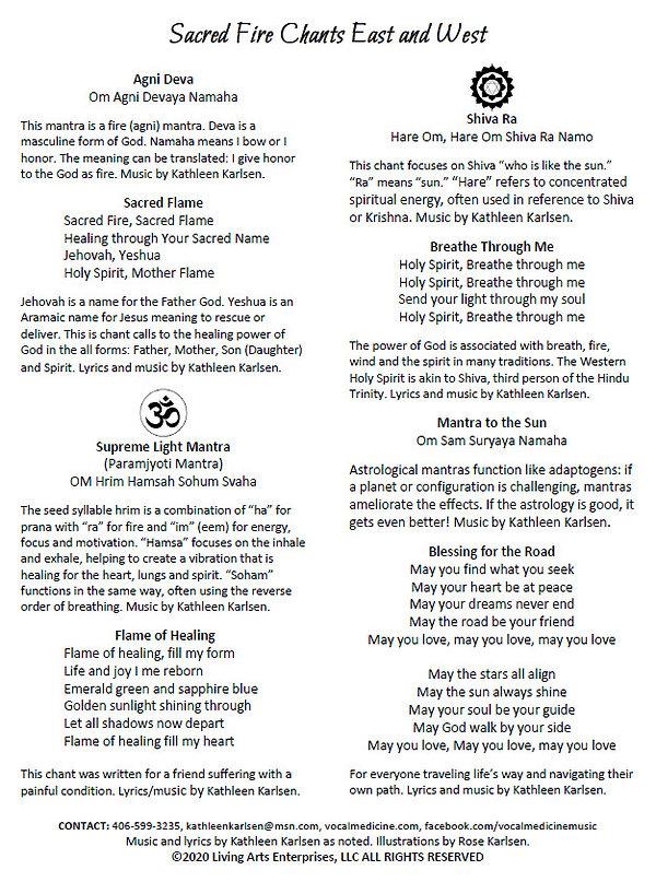 Sacred Fire Chants Lyric Sheet ONE HOUR