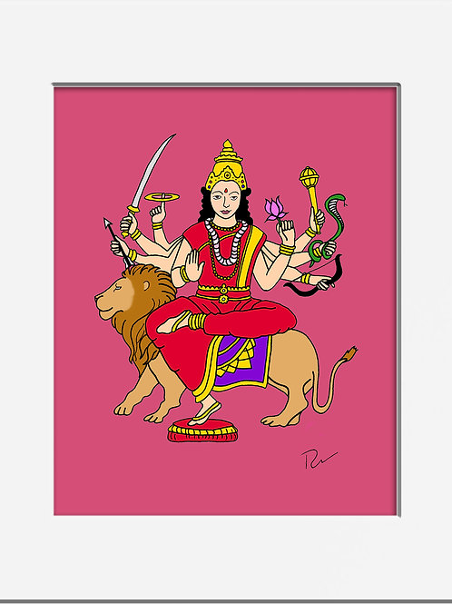 "Durga, Warrior Goddess 5x7"" Print with Mat"