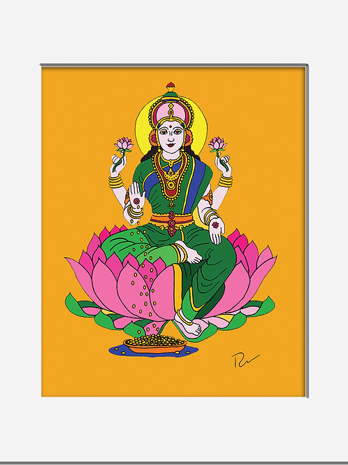 "Lakshmi Goddess of Wealth 5x7"" Print with Mat"