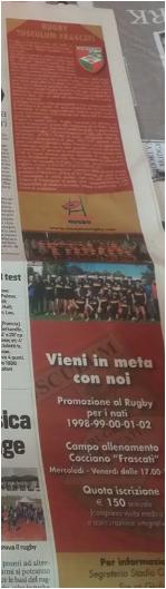 articolo corriere dello sport, rugby tusculum frascati, rugby union frascati, 13 febbraio