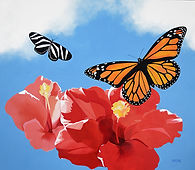 monarch butterfly, zebra longwing butterfly, hibiscus flowers, acrylic original art painting