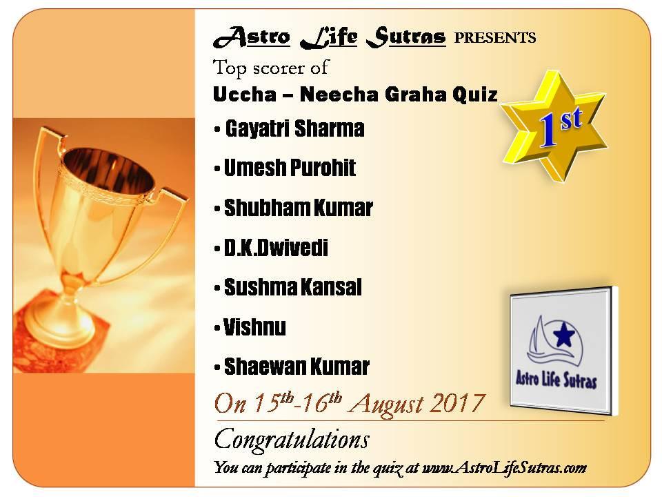 Top Scorer Astro Life Sutras quiz