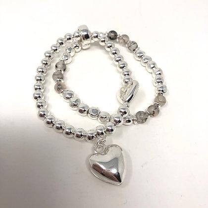 Silver Heart Double Chain Bracelet