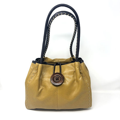 Button Bag With Stitching Detail Mustard