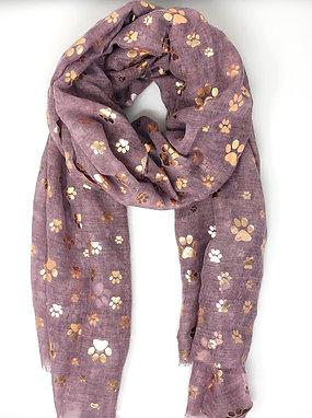 Lilac Rose Gold Paw Print Scarfs