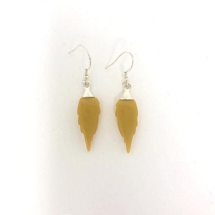 Mustard Drop Leaf Earrings