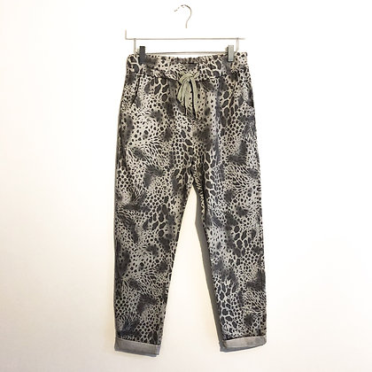 Grey Animal Print Trousers