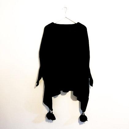 Black Tassel Poncho