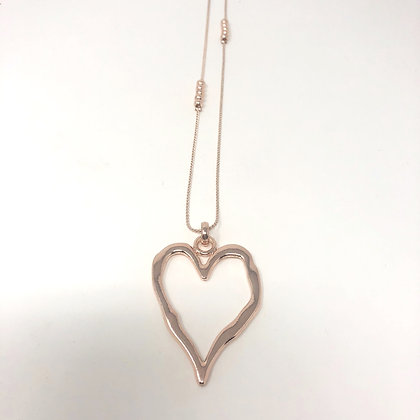 Long Cut Out Heart Necklace Rose Gold