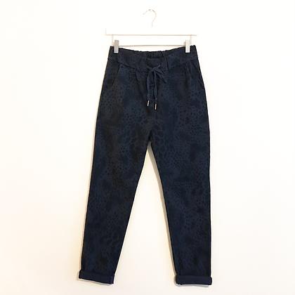 Navy Animal Print Trousers