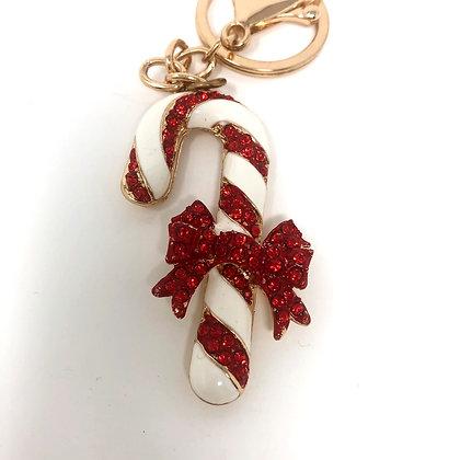 Candy Cane Key Ring/Bag Charm