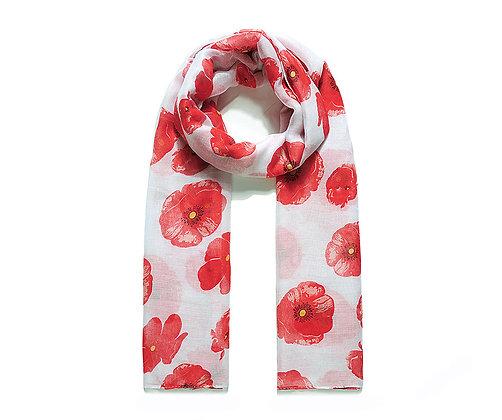 White poppy love print scarf