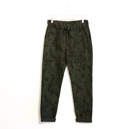 Khaki Animal Print Trousers