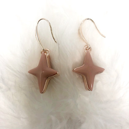 Drop Star Earrings in Pink & Rose Gold Colour