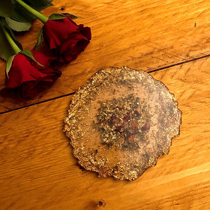 Rose Petal, Lavender & Gold Flake Resin Coaster