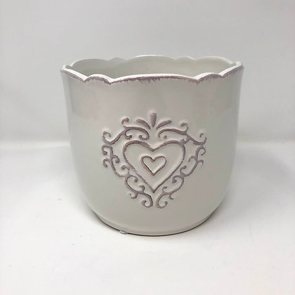 Embossed Heart Ceramic Pot