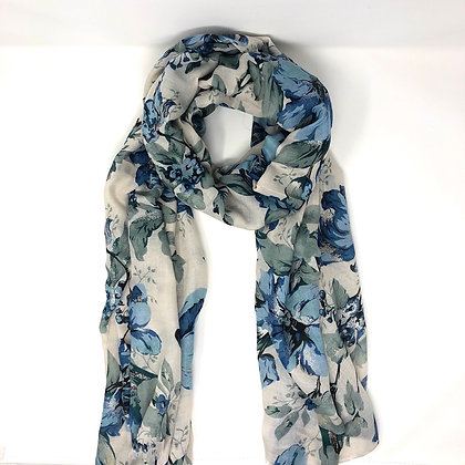 Blue And Green Floral Scarf