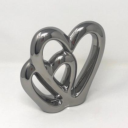 Silver Double Heart