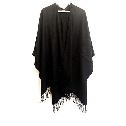 Black Fringe Wrap Shawl