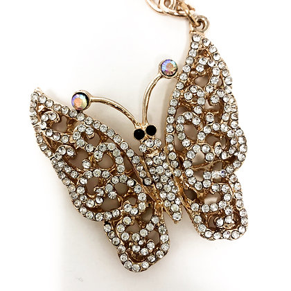 Large Butterfly Sparkly Keyring/Bag Charm Gold Coloured