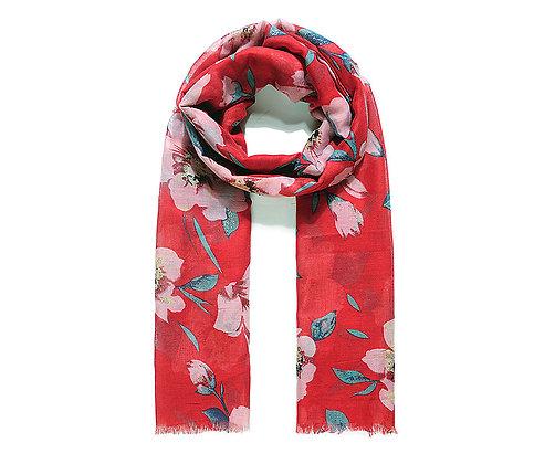 Red Glitter Flower Print Scarf