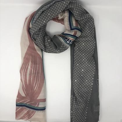 Pink & Grey Leaf Scarf