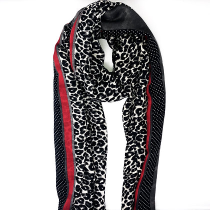 Grey Leopard Print Scarf With Red Stripe