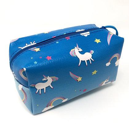Blue unicorn makeup bag