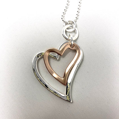 Double Open Heart Long Necklace