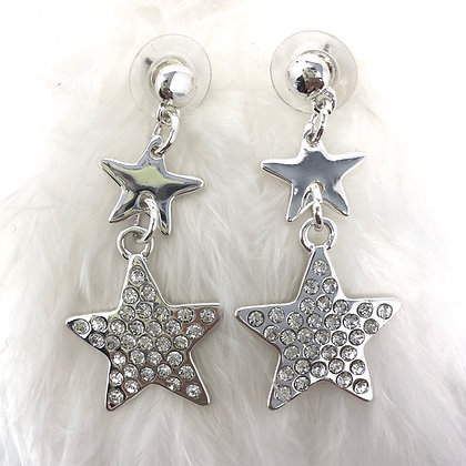 Sparkly Double Star Drop Earrings Silver Colour