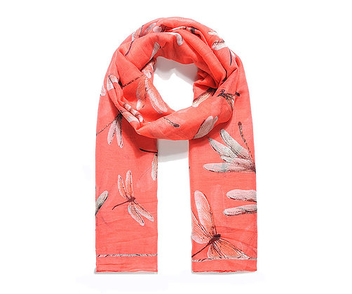 Coral large dragonfly print scarf