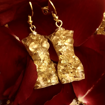 Gold Female Goddess Resin Earrings
