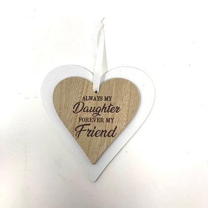 Daughter Double Heart Plaque