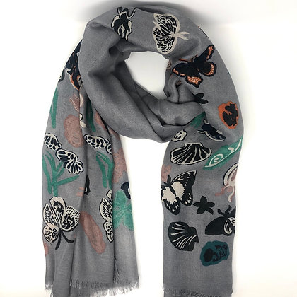 Grey Butterfly & Flower Print Scarf