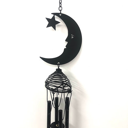 Black Crescent Moon Windchime