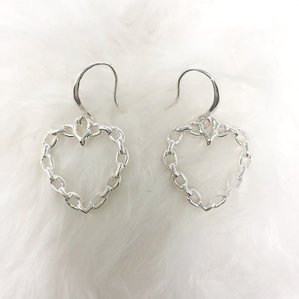 Heart Chain Drop Earrings Silver Colour