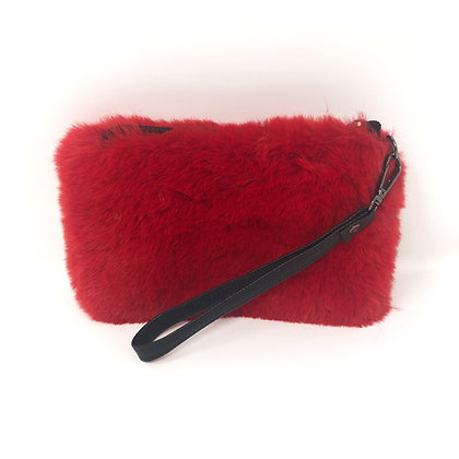 Red Faux Fur Clutch Bag