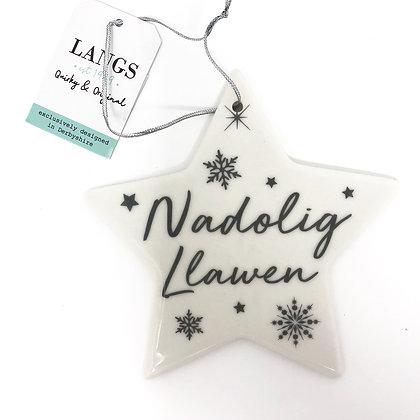 Silver Welsh Christmas Star - Nadolig Llawen